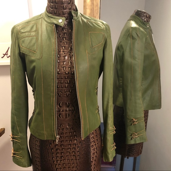 Cache Jackets & Blazers - Money Green Leather Jacket from Cache
